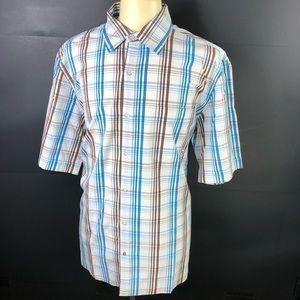 VTG Rocawear Mens Blue Brown Plaid 2XL SS Shirt
